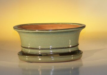 Ceramic Bonsai Pot  With Matching Humidity/Drip tray- Oval