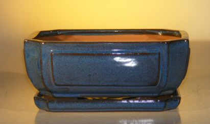 Ceramic Bonsai Pot  With Matching Humidity/Drip tray - Rectangle
