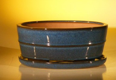 Ceramic Bonsai Pot  With Matching Humidity/Drip tray - oval