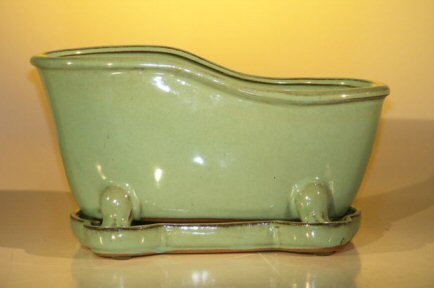 Ceramic Bonsai Pot With Matching Tray