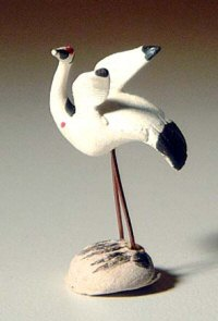 Ceramic Crane Figurine small - 1""