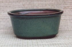 Green Oval Ceramic Bonsai Pot