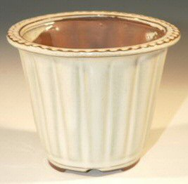 Round Cream Fluted Ceramic