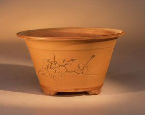 Ceramic Bonsai Pot - Unglazed Round with Floral Etching