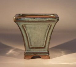 Ceramic Bonsai Pot - Green Tapered Cascade