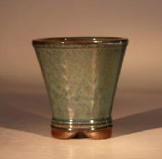 Ceramic Bonsai Pot - Green Round Cascade