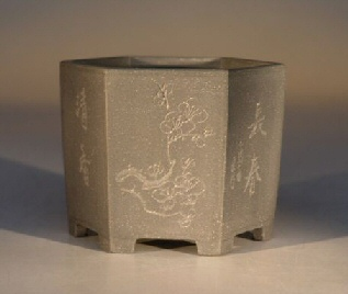 Ceramic Bonsai Pot - Unglazed  Grey Hexagon w/etched designs
