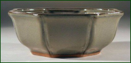 Green Octagon Ceramic Bonsai Pot
