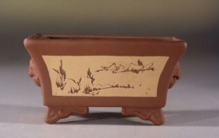 Unglazed Rectangle Bonsai Pot with Etched Floral Design