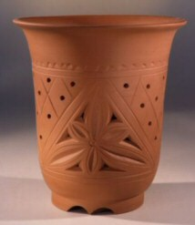 "Carved Unglazed Red/Brown Cascade-6.75""x7.0"""