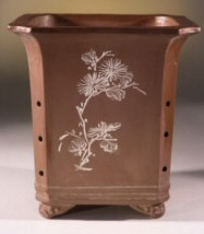 Unglazed Red/Brown Cascade With Floral Etching