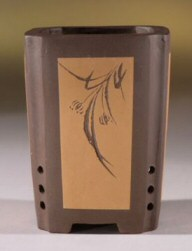 "Unglazed Brown/Tan Cascade with Floral Etching-3.5""x5.0"""