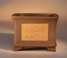 Ceramic Bonsai Pot - Unglazed Square With Floral Etching
