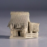 "Ceramic  Figurine - Double Hut 2.0""x2.0""x2.0"""