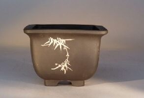 Ceramic Bonsai Pot - Unglazed Square with Etched Designs
