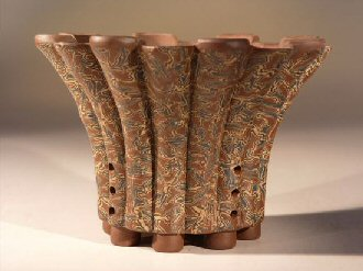 Ceramic Bonsai Pot - Round Unglazed with Pained Floral Design