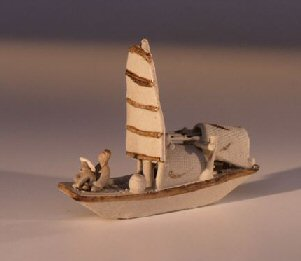 Miniature Chinese Boat Figurine