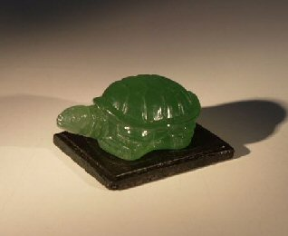 Glass Turtle Figurine With Wooden Stand