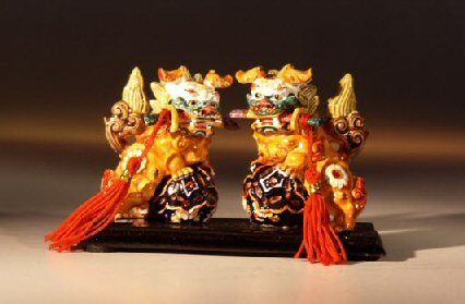 Two Dragon Dog Miniature Figurines