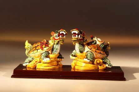 Two Dragon Turtle Miniature Figurines