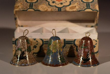 Hand Painted Cloisonne Bells  -  Set of 3