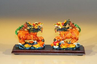 Two Horse-Dragon  Miniature Figurines