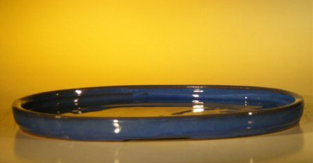 Ceramic Humidity/Drip Bonsai Tray - Blue Oval