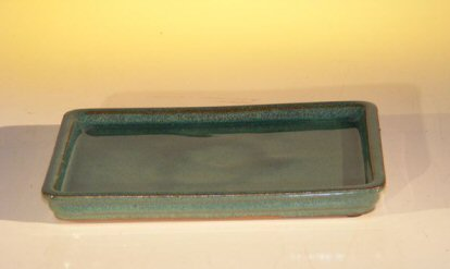 Ceramic Humidity/Drip Bonsai Tray -Green Rectangle