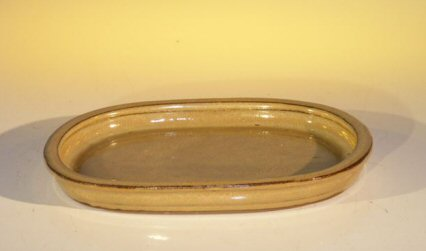 Ceramic Humidity/Drip Bonsai Tray - Mustard/Tan Oval