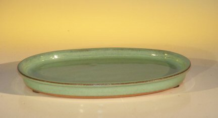 "Ceramic Humidity/Drip Bonsai Tray - Light Blue/Green Oval>7.5""x6.0""x.75"""